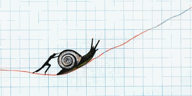 man pushing snail up ascending line on graph